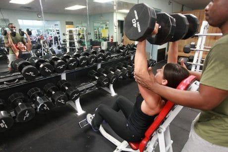 Woman performing shoulder press