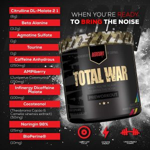 Redcon1 Total War PreWorkout Review Ingredients