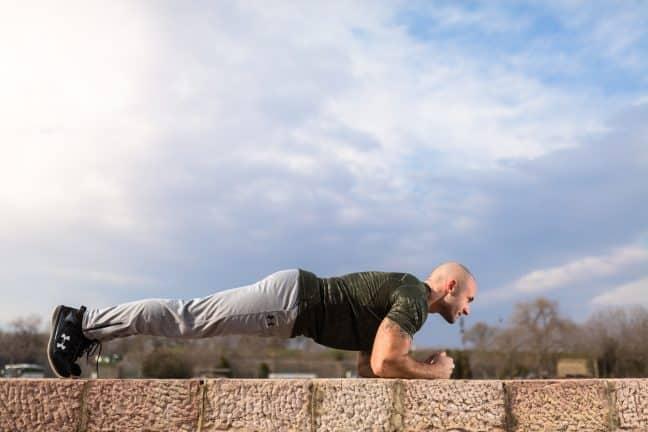 man doing plank