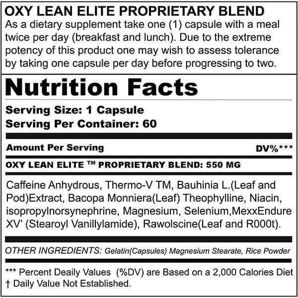 OXY LEAN Elite Ingredients label